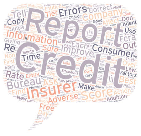 credit report: Insurance And Your Credit Report Part II text background wordcloud concept