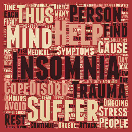 ordeal: Insomnia Through Trauma text background wordcloud concept