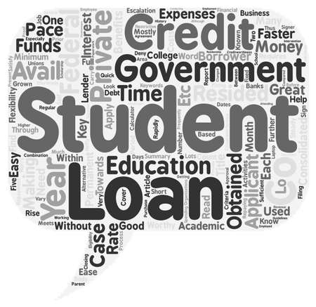 clouds making: Key Benefits of Private Student Loans text background wordcloud concept