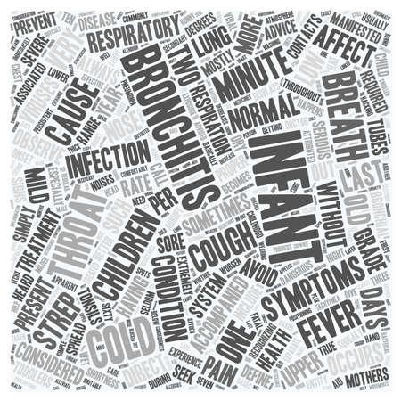 severity: infant bronchitis text background wordcloud concept Illustration