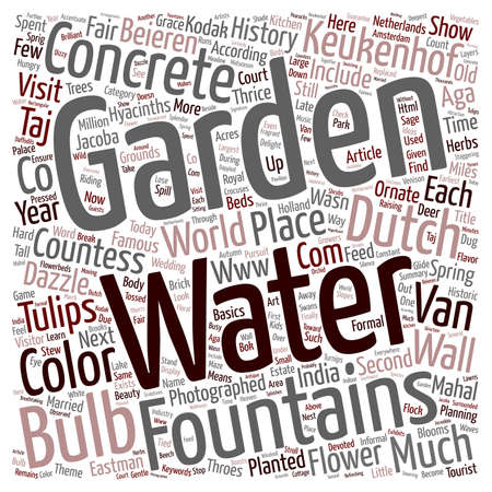 dazzle: Keukenhof Gardens Dazzle With Bulbs And Concrete Water Fountains text background wordcloud concept