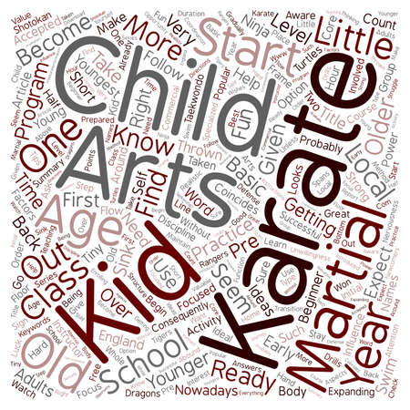 little one: Is Your Little One Ready To Become A Karate Kid text background wordcloud concept Illustration