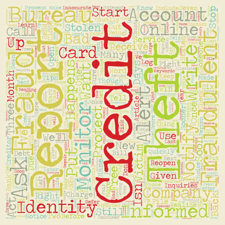 Identity Theft When It Happens To You text background wordcloud concept