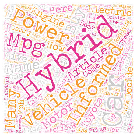 hybrid: Hybrid Cars And Our Future text background wordcloud concept Illustration