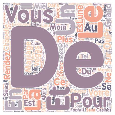 et: Idees Pour Mariage et Lune de Miel Inoubliable text background wordcloud concept