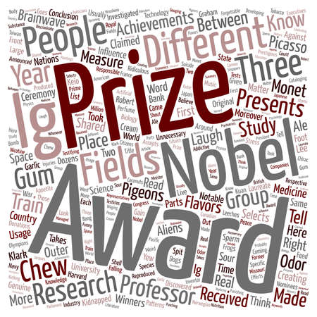 researches: Ig Nobel Prizes Funniest Science Achievements text background wordcloud concept Illustration