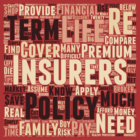 How To Control Your Life Insurance Premiums text background wordcloud concept