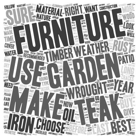 garden furniture: How to choose your garden furniture and make it last text background wordcloud concept