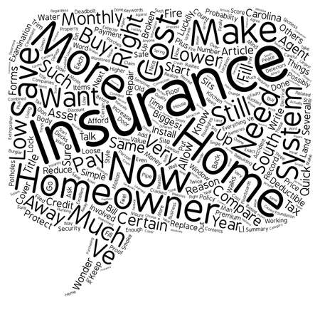 homeowner: How To Compare Low Cost Homeowner s Insurance In South Carolina text background wordcloud concept Illustration