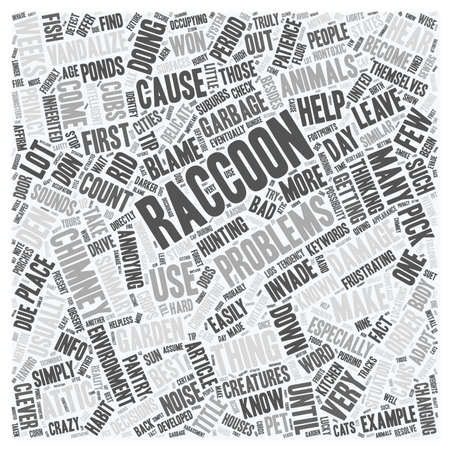 raccoons: How To Get Rid Of Raccoons text background wordcloud concept Illustration
