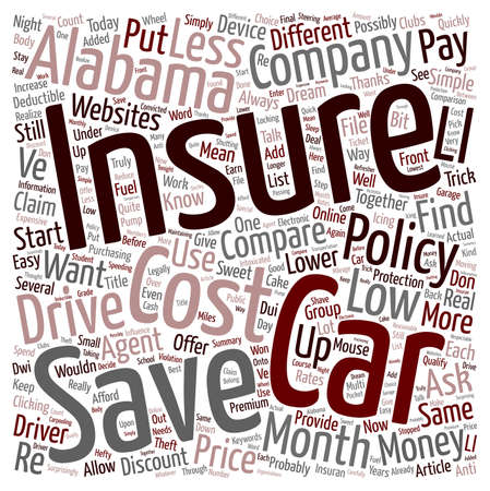 How To Compare Low Cost Car Insurance In Alabama text background wordcloud concept