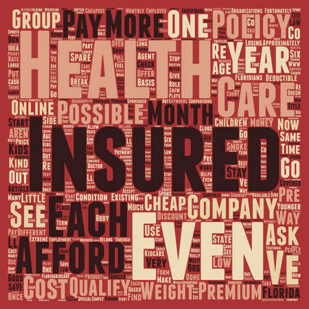 approximately: How To Get Cheap Health Insurance Online In Florida text background wordcloud concept Illustration