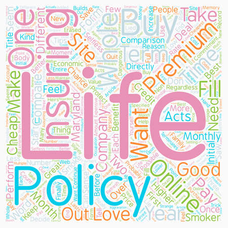 How To Get Cheap Life Insurance Online In Maryland text background wordcloud concept
