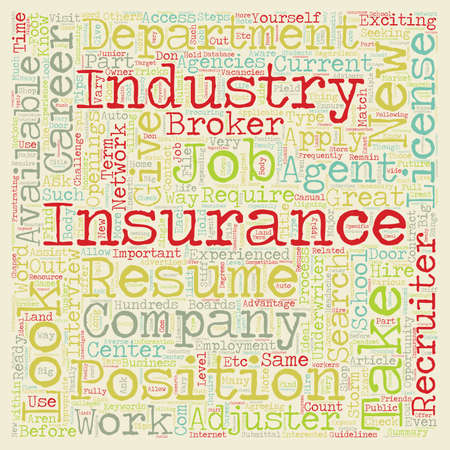 How to Find a Job in Insurance text background wordcloud concept
