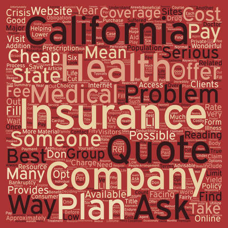 How To Get Cheap Health Insurance Online In California text background wordcloud concept