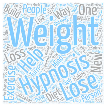 hypnotherapy: How Hypnosis Can Help On Weight Loss text background wordcloud concept