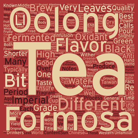oolong: How Is Imperial Formosa Oolong Different From Other Teas text background wordcloud concept Illustration