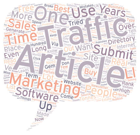 tonnes: How One Simple Article Got Floods Of Visitors Tonnes Of Sales And How You Can Do The Same text background wordcloud concept Illustration