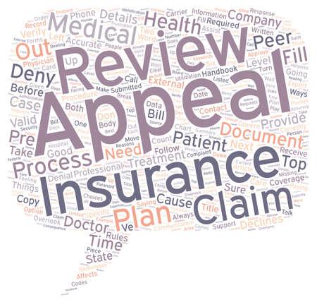 Hoe om in beroep wanneer uw medische verzekering weigert uw claim tekst achtergrond wordcloud begrip