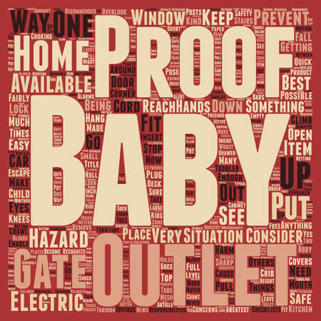 How to baby proof your home text background wordcloud concept Illustration