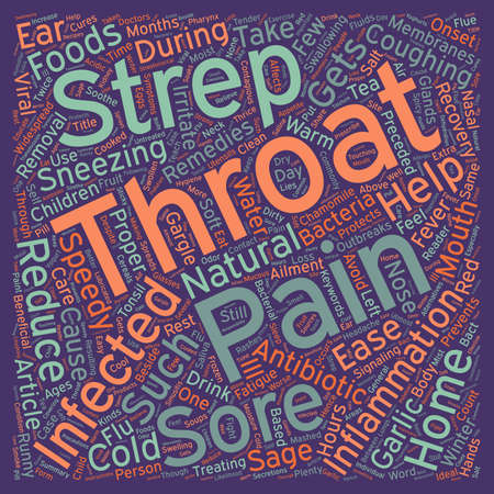 throat: Home Remedies For Strep Throat text background wordcloud concept Illustration