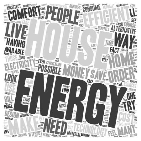 aspects: house energy efficent text background wordcloud concept Illustration