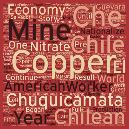 How Copper started the legend of Che Guevara text background wordcloud concept Illustration