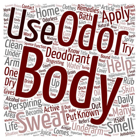odor: Home Remedies For Body Odor text background wordcloud concept