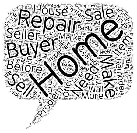 repairs: Home Seller Make Needed Repairs text background wordcloud concept