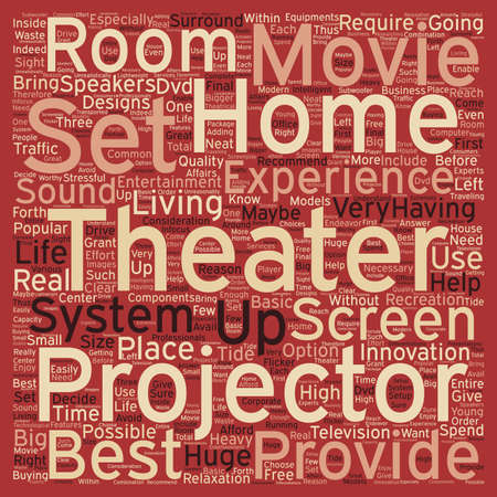 home theater: home theater projector text background wordcloud concept Illustration