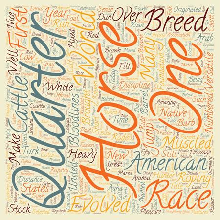 Horse Breeds American Quarter Horse text background wordcloud concept