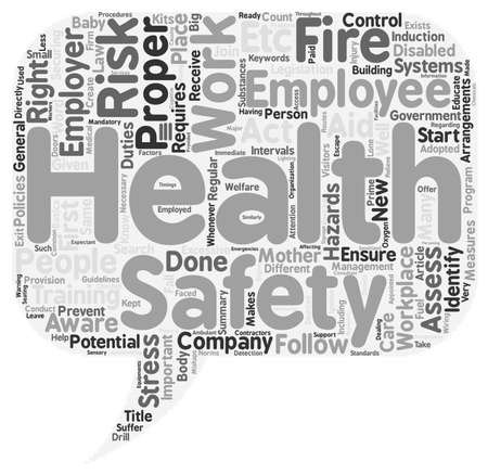 legislation: Health and safety at work text background wordcloud concept Illustration