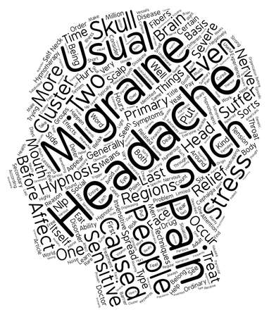 hypnotherapy: Headache And Migraine Pain Relief Through Hypnotherapy text background wordcloud concept