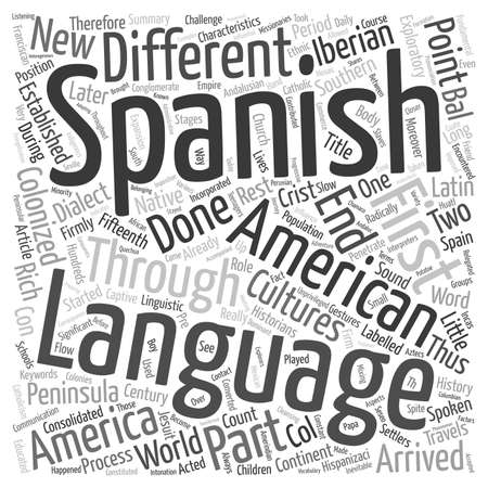 arrived: History Of The Spanish Language In Latin America text background wordcloud concept