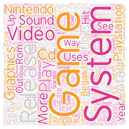 come: history of video game systems text background wordcloud concept