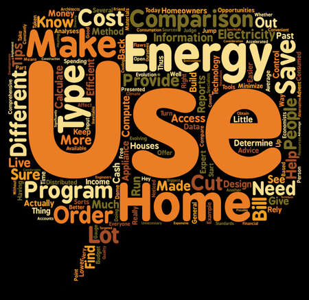 energy use: HOME ENERGY USE COMPARISONS 1 text background wordcloud concept