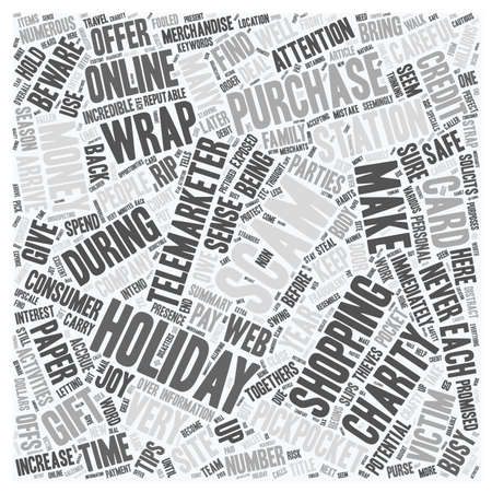 exposed: Holiday Scams and Thieves Exposed text background wordcloud concept