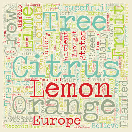 pleasing: History Of Citrus text background wordcloud concept