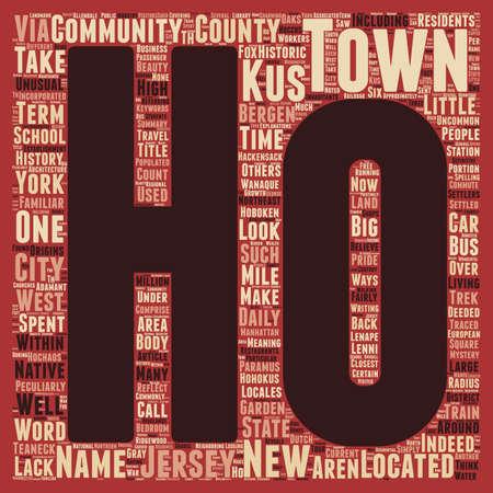 Historische Ho Ho Kus New Jersey tekst achtergrond wordcloud begrip Stock Illustratie