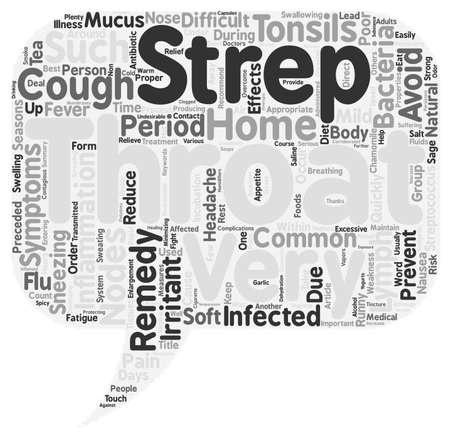 throat: Effective Home Remedies for Strep Throat text background wordcloud concept Illustration