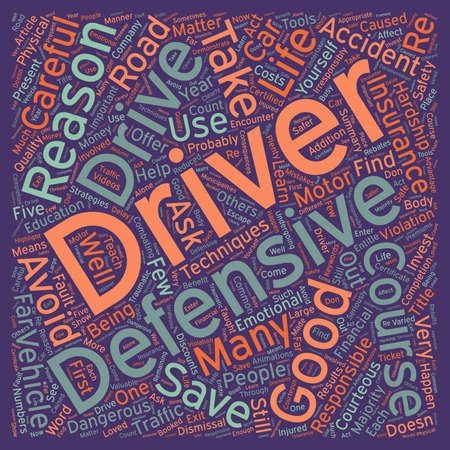 Five Good Reasons To Take A Defensive Driver Course text background wordcloud concept