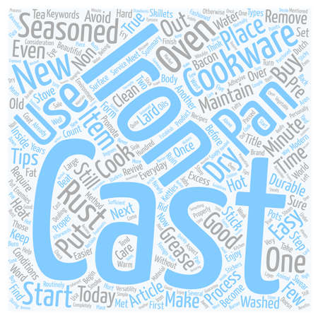 cast iron: Get the Most from Your Cast Iron Cookware text background wordcloud concept