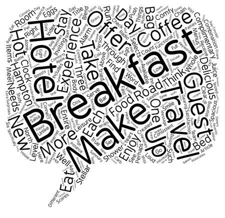 Eat Up Travelers Enjoy Breakfast On The Road text background wordcloud concept Illustration