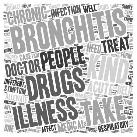 bronchitis: drug for bronchitis text background wordcloud concept