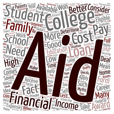 billions: Financial Aid Myths text background wordcloud concept Illustration