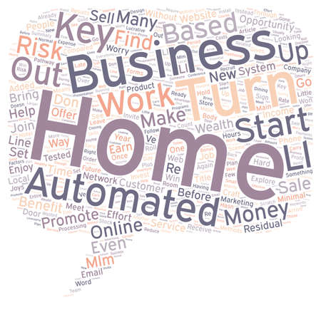 based: Enjoy Wealth from Home with a Turn Key Automated Home Based Business text background wordcloud concept