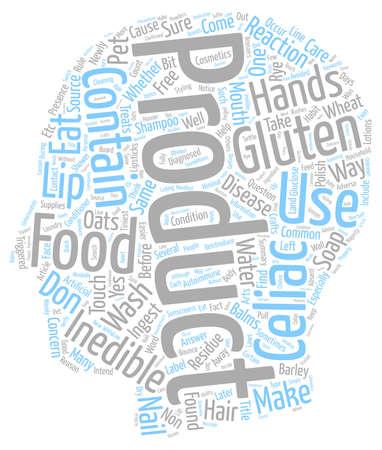 autoimmune: Gluten Inedible Products text background wordcloud concept