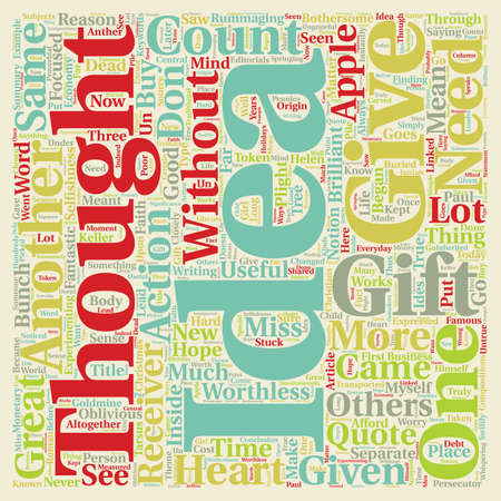 came: Gifts With No Thought Are Worthless text background wordcloud concept