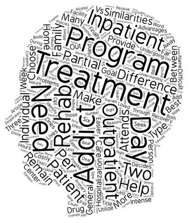 outpatient: Drug Rehab Outpatient vs Inpatient What s The Difference text background wordcloud concept