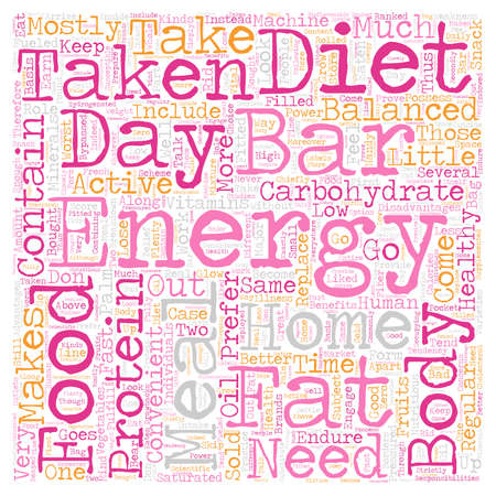 energy bars taken at home text background wordcloud concept Illustration